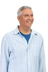 Handsome middle age man on a white background