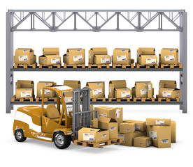 Loader, shelves with boxes in the background with clipping path.