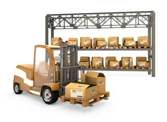 forklift with boxes, shelves with boxes with clipping path.