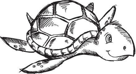 Cute Sketch Doodle Drawing Sea Turtle Vector