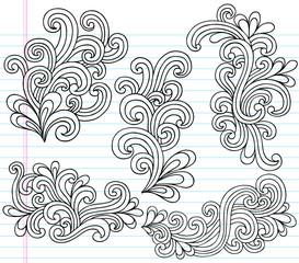Notebook Doodle Swirly Waves Vector Illustration Design Elements