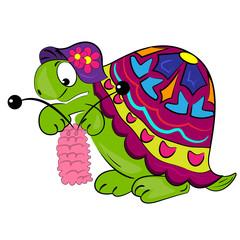 cartoon turtle knitting.vector animal illustration