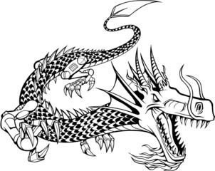 Cyborg Dragon Vector Illustration