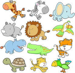 Safari Animal Design elements Vector Set