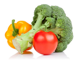 Broccoli, tomato and Yellow Bell Pepper isolated on white backgr