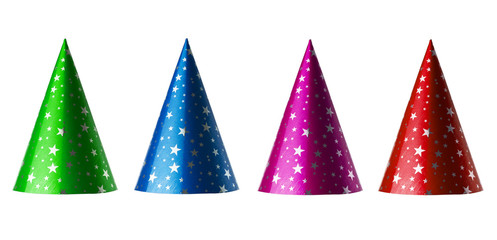 Set of party hats isolated on white with clipping paths