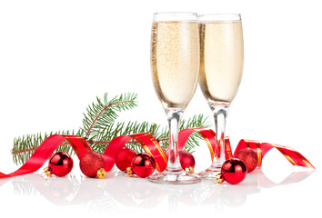 Two Glass of Champagne, Red ribbon, Christmas Balls and Pine Tre