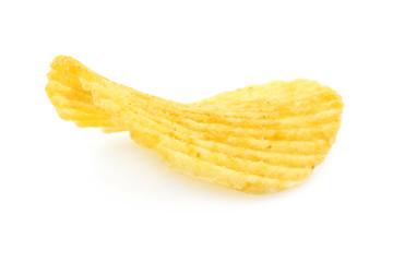 Single potato chip close-up on a white background
