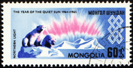 The study of the Northern Light in Arctic on post stamp