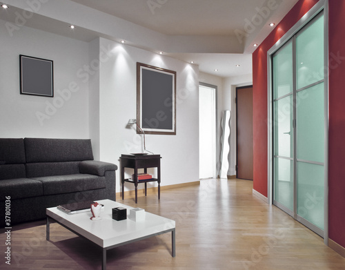 """""""ingresso affacciato su un moderno soggiorno con parquet"""" Immagini e Fotografie Royalty Free su ..."""
