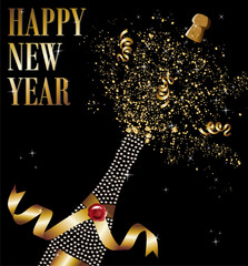 Diamond champagne bottle uncorked in New Year