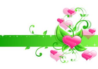 grüne ranke herzen