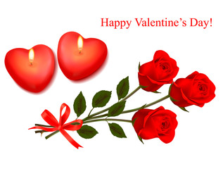 Valentine background. Red roses and two heart candles