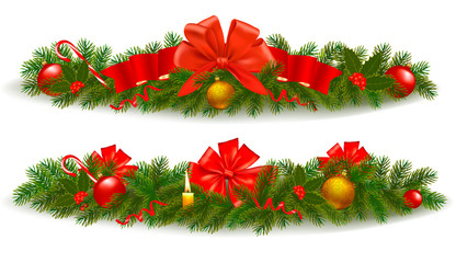 Two holiday christmas garlands. Vector illustration.