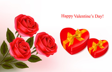 Background with red roses and two gift red boxes.