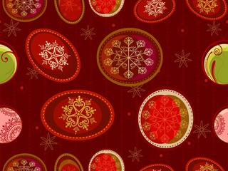 Seamless pattern with Christmas ornaments in red backgrounds.vec