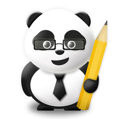 Business Panda with pencil