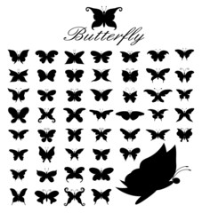 Silhouette Vector set of 50 butterflies.