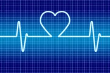 Blue heart signal oscilloscope.