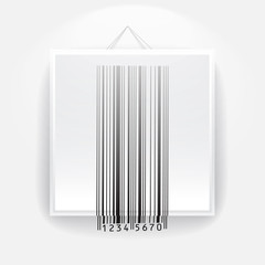 Blank frame on the wall with barcode sign