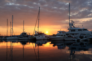 Yachts in the dock at sunrise - Florida