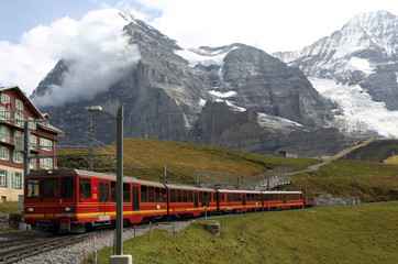 Swiss railway system in the alps