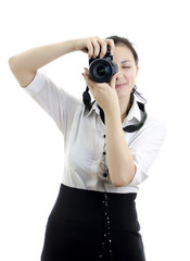 young brunette girl with photocamera, isolated
