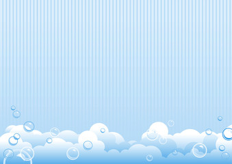 Blue background of soap bubbles. Vector Illustration
