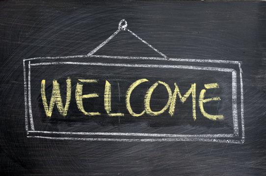 Welcome - word written on blackboard