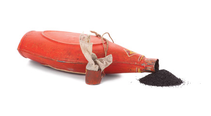 lying bottle with gunpowder, isolated