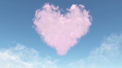 pink heart from clouds
