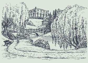 Vector landscape. Palace park with a bench near river