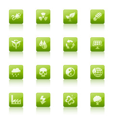 Green Web Buttons -Ecology and Nature
