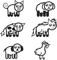 Set of black and white farm animal outlines