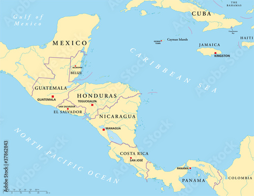 Central America political map with capitals, national borders ...