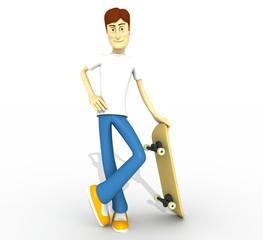 chico con tabla skate