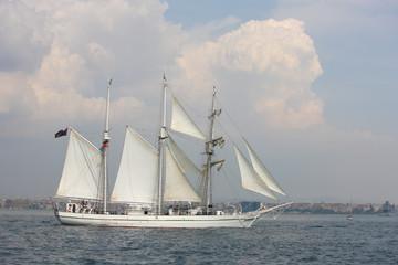 old white sailing ship
