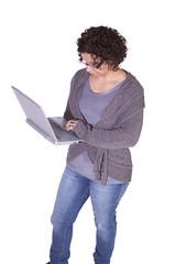 Hispanic Businesswoman Holding a Laptop