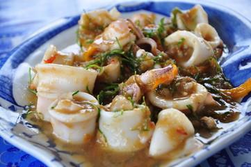 Stir fried squids in salty shrimp sauce