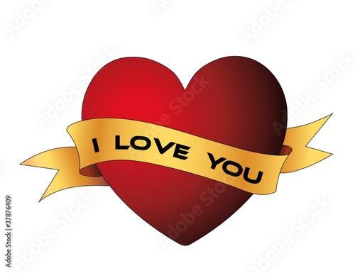 i love you herz mit banner stockfotos und lizenzfreie vektoren auf bild 37876409. Black Bedroom Furniture Sets. Home Design Ideas