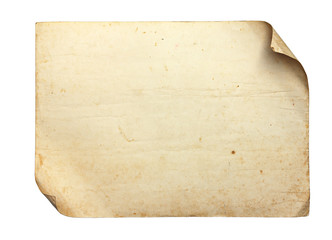 Vintage old paper on white background, with clipping paths