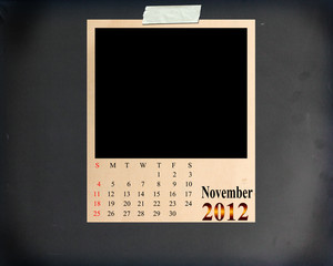 Calendar 2012 November, Blank Photo on Blackboard Background