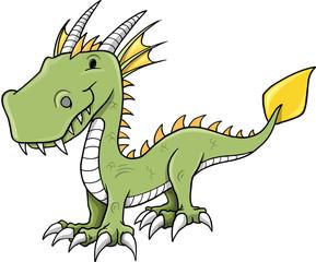 Cute Little Dragon Vector Illustration