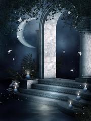 Nocna sceneria z tajemniczymi ruinami