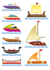 Sea and river boats - vector illustration