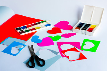 Hearts of colored paper for Valentine's Day