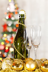 champagne and two glasses