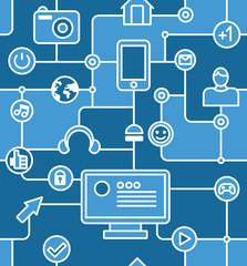 blue social media and internet seamless pattern