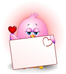 Uccellino Amore Auguri Cartoon-Little Bird Love Card-Vector