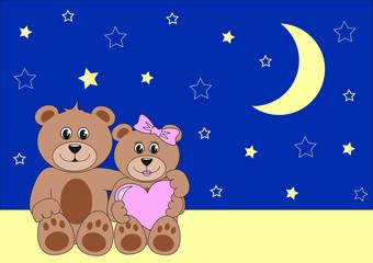 zwei teddys in der nacht